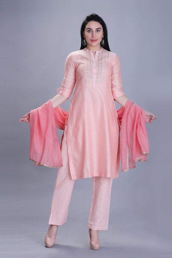 Plush Peach Kurta Set With Dupatta - Barara Official