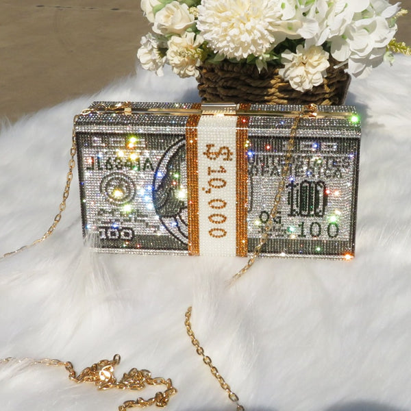 Rhinestone Money Clutch