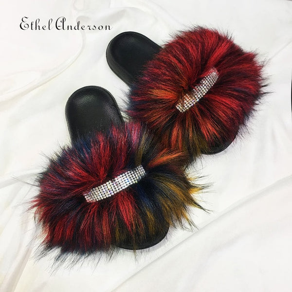 Furry Slides with Rhinestones