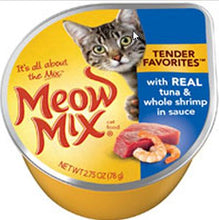 Load image into Gallery viewer, Meow Mix Tender Favorites with Real Tuna and Whole Shrimp in Sauce Cat Food Cups