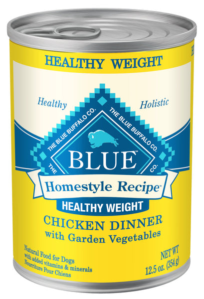 Blue Buffalo Homestyle Recipe Healthy Weight Chicken Dinner with Garden Vegetables Canned Dog Food