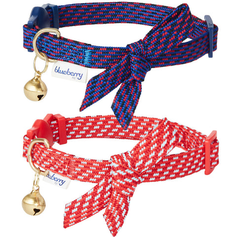 Blueberry Pet Sleek Handsome Diagonal Striped Adjustable Breakaway Cat Collar with Bowtie and Bell 2 Pack
