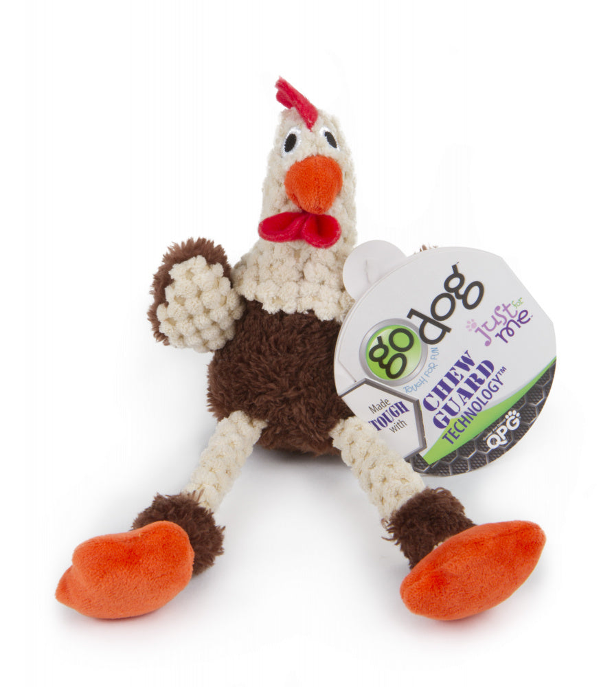 Go Dog Checkers Skinny Brown Rooster with Chew Guard Technology Durable Plush Squeaker Dog Toy Mini Just for Me