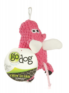 Go Dog Checkers Flying Pig with Chew Guard Technology Durable Plush Squeaker Dog Toy Pink Mini Just for Me