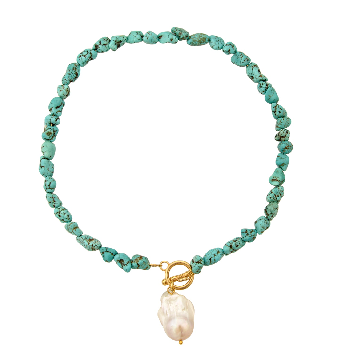 Short tumbled turquoise necklace with baroque drop pearl and gold bar clasp by Mayol