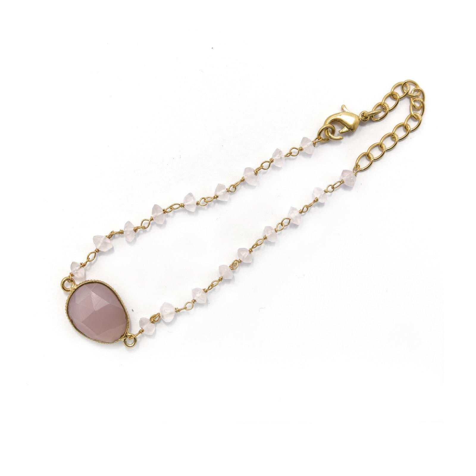 Tuesday Bracelet  - Rose Chalcedony handcrafted gold plated Katy Valentine - Shop with Sparkle & The Sinner