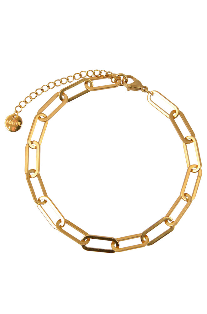 Gold chain link anklet with extendable clasp