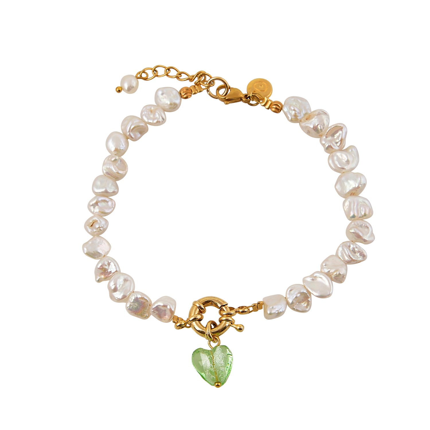 Gold anklet with irregular pearl charms and a green heart Murano drop pendant