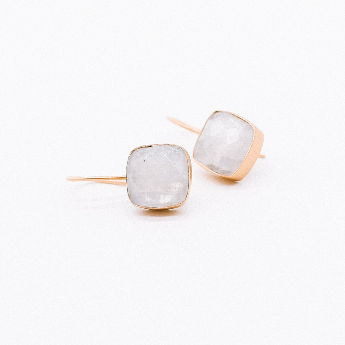 Large rainbow moonstone earrings with gold hook