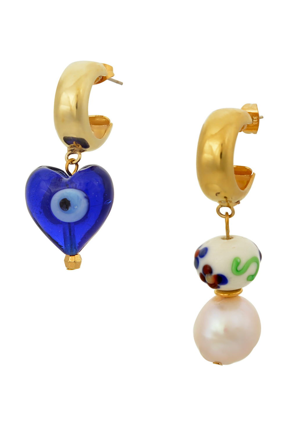 Asymmetrical gold Mayol earrings, one with blue eye Murano heart drop & the other with stacked porcelain bead and pearl drop