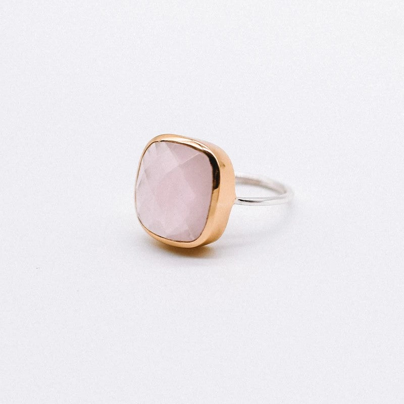 Frankie Ring - Dual tone chunky Rose Chalcedony handmade gold plated Katy Valentine- Shop with Sparkle and The Sinner- Dubai