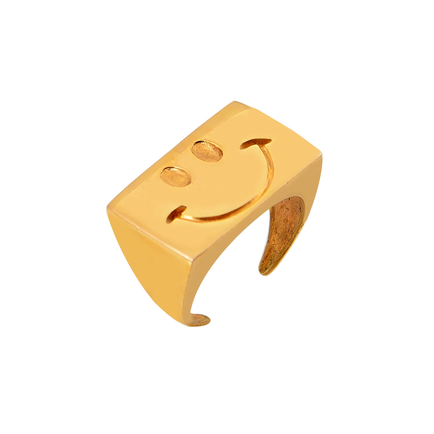 The Dude - 80's retro smiley face ring gold plated Mayol - Shop with Sparkle & The Sinner