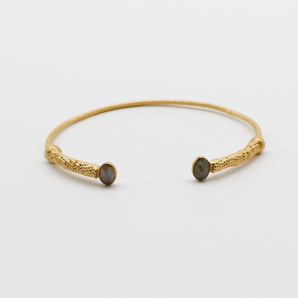 Bella Bracelet - Cuff Labradorite hand crafted gold plated Katy Valentine - Shop with Sparkle & The Sinner