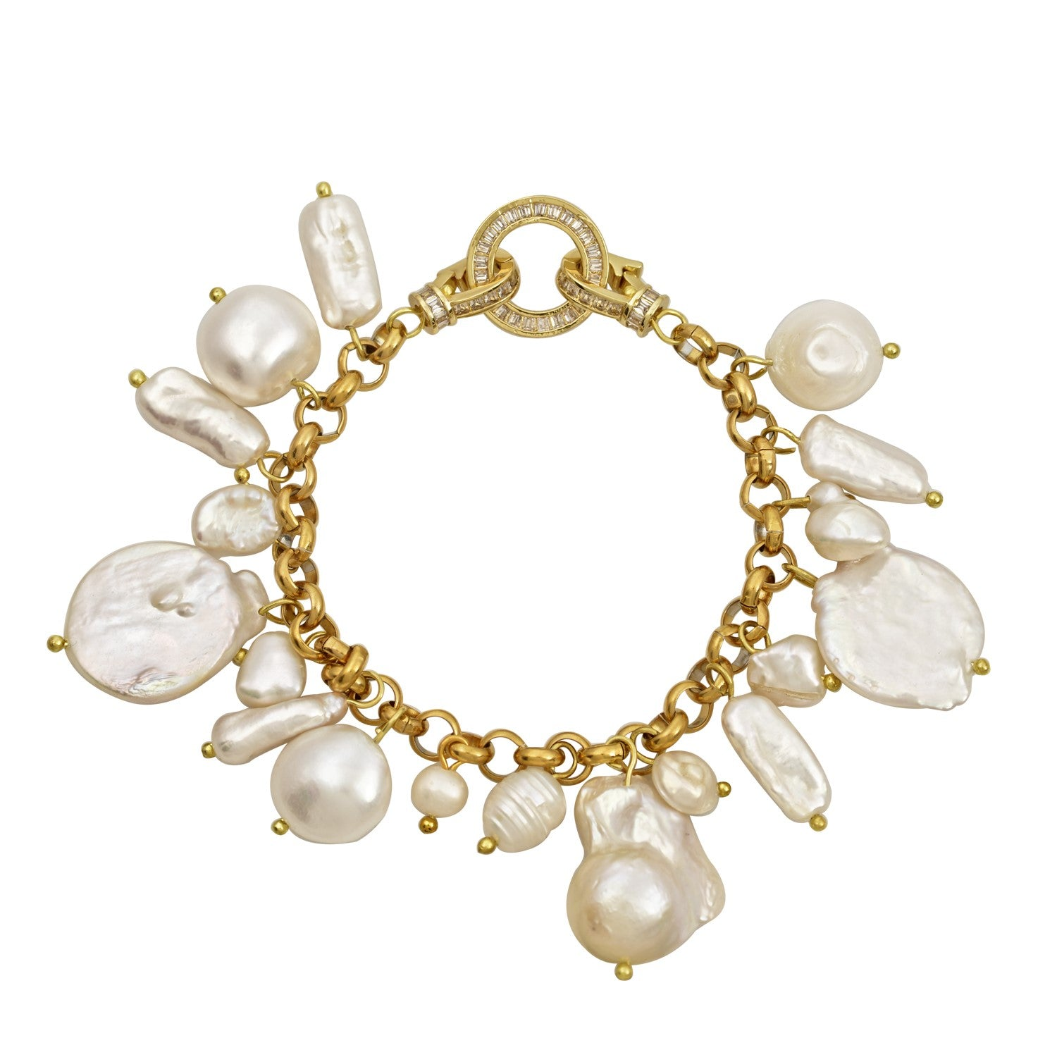 Las Palmas Bracelet-Baroque pearls-chunky gold plated Mayol - Shop with Sparkle & The Sinner
