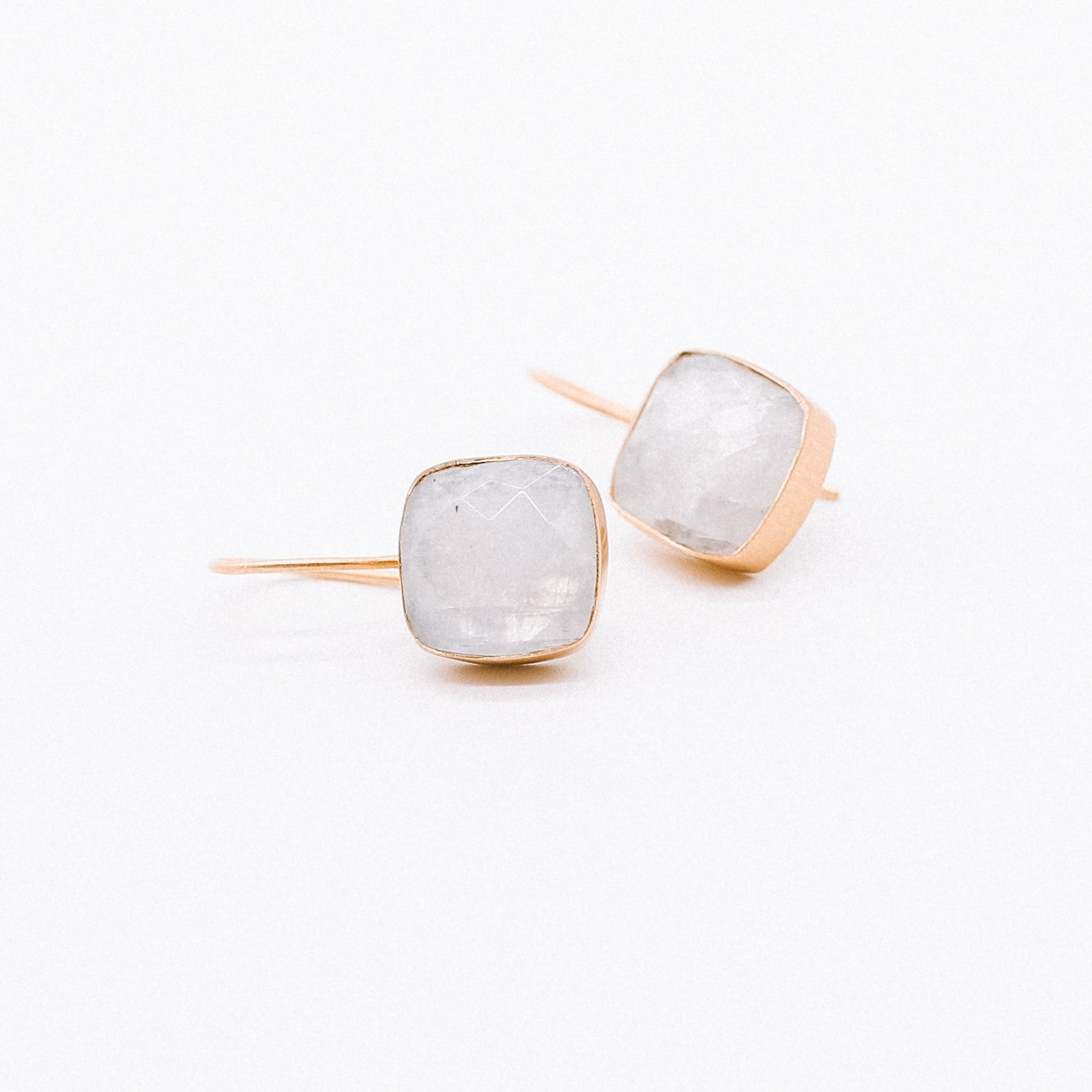 Daisy Earrings - Square Rainbow Moonstone handmade gold plated Katy Valentine - Shop with Sparkle & The Sinner