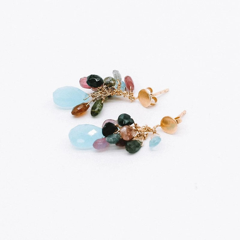 Jamie Earrings	Glamorous Tourmaline Aqua Chalcedony lightweight gold plated Katy Valentine - Shop with Sparkle & The Sinner