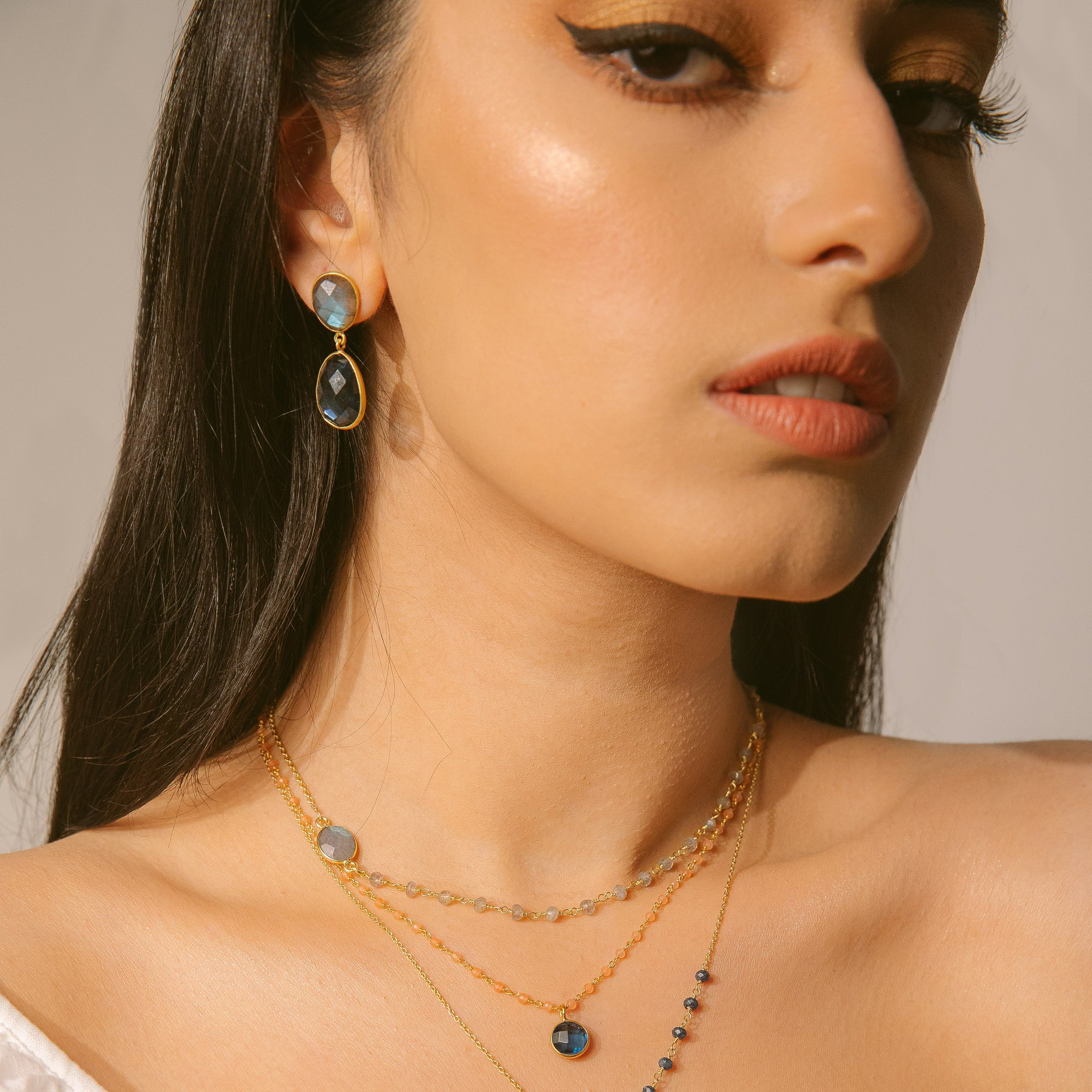 Layla Earrings	Labradorite London Topaz Quatrz handmade gold plated Katy Valentine - Shop with Sparkle & The Sinner