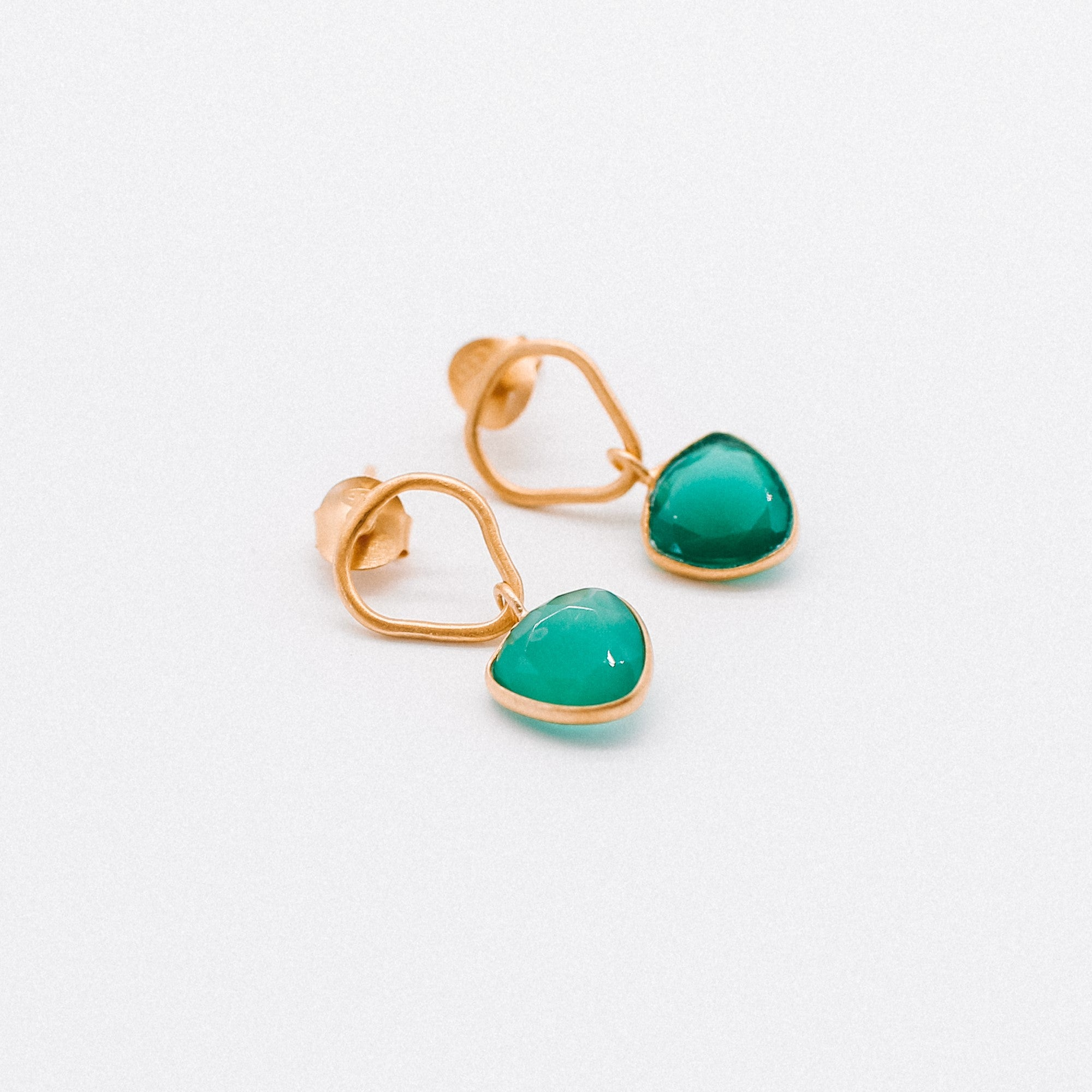 Jolie Earrings 	Delicate Green Onyx handmade gold plated Katy Valentine - Shop with Sparkle & The Sinner