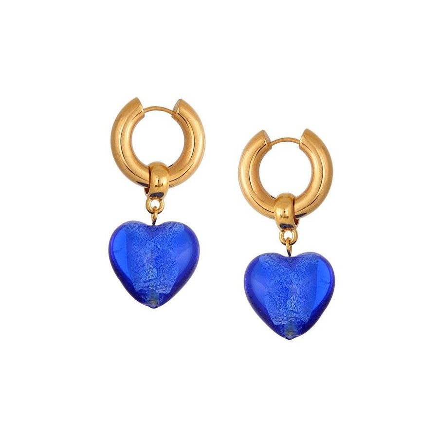Heart Of Glass Blue - 80's drop  Murano glass gold plated handmade Mayol - Shop with Sparkle & The Sinner