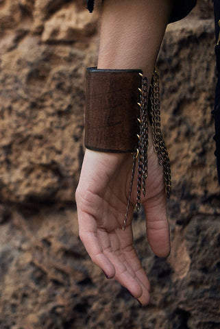 Leather Chain Cuff