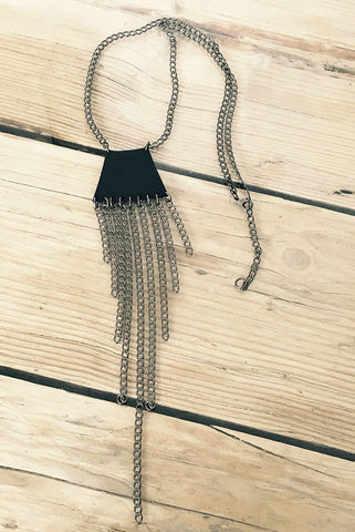 Leather & Brass Chain Necklace
