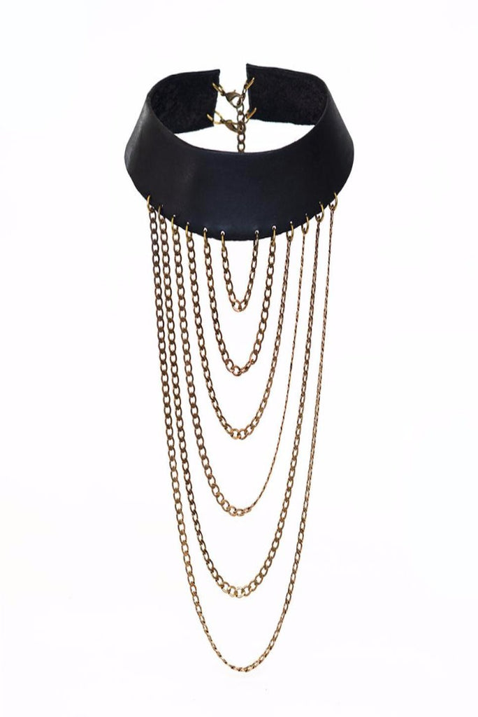 Leather & Brass Chains Necklace