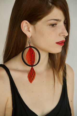Red feather earing