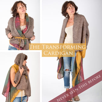 Collection of transforming versatile multifunctional reversible morphing creative cardigan sweaters, women's clothing