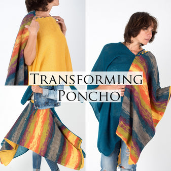 transforming poncho, knit versatile outfit for women