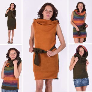 Collection of transforming versatile multifunctional reversible morphing creative sweater dresses