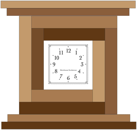 Drawing for Red Log Cabin Clock