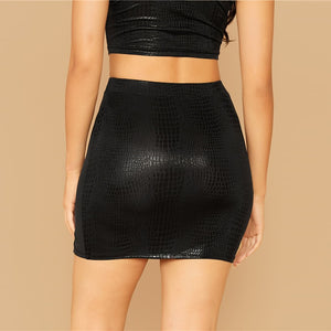 Embossed mini skirt