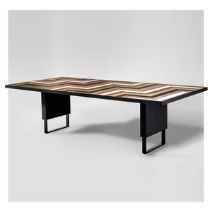 Black, White and Oak Domino Dining Table by Larissa Batista