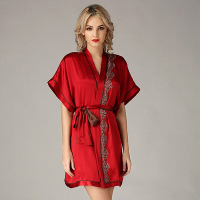 Robe de chambre Femme Luxe Glamour rouge