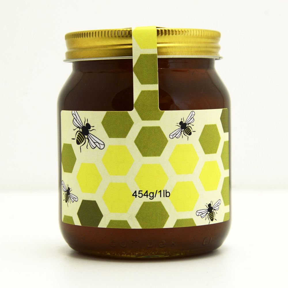 An image of 100 Personalised Jar And Tamper Labels - Graphic Comb
