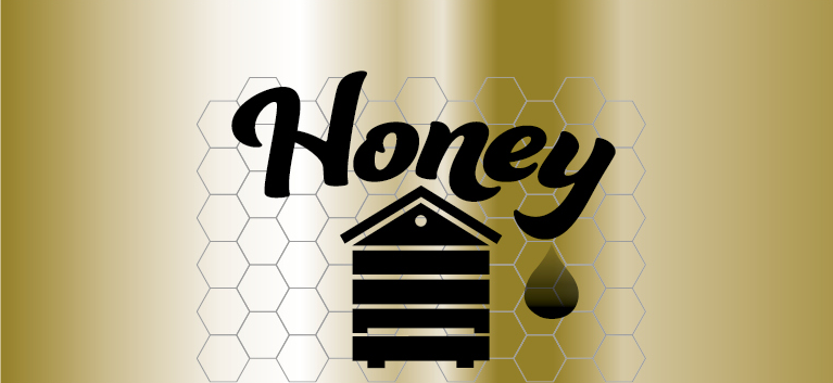 90 Honey Jar Labels - Gold Hive on Comb Design