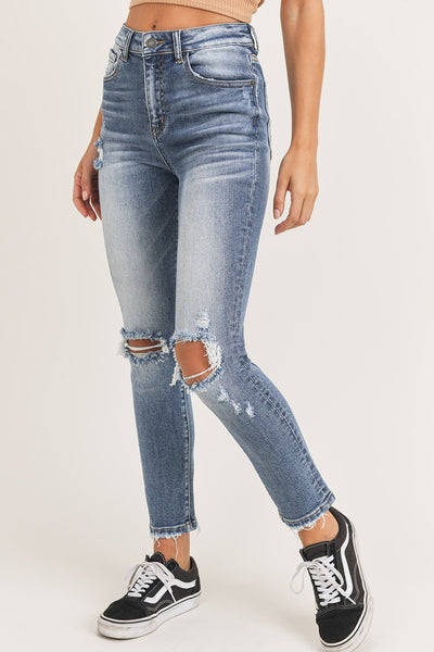 Vintage Wash Distressed Knee High Waist Jeans