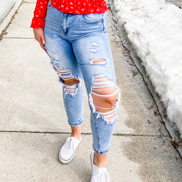 Risen Distressed Boyfriend Jeans