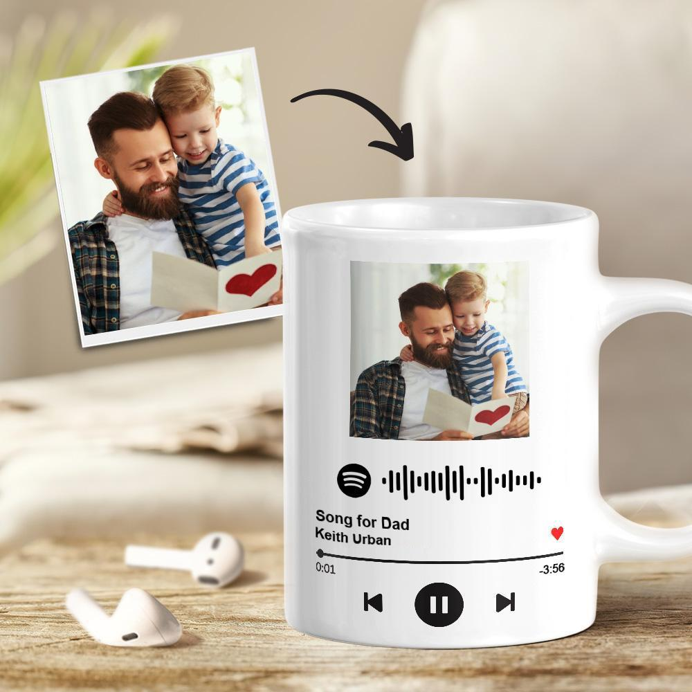 Custom Spotify Code Song Poster Photo Mug For Dad