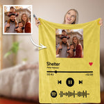 Custom Your Favorite Song Spotify Code Blanket Family Photo Blankets