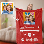 Custom Your Favorite Song Spotify Code Blanket Couple Photo Blankets