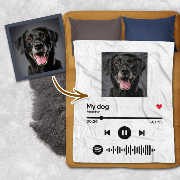 Custom Your Favorite Song Spotify Code Blanket Personalized Dog Photo Blankets