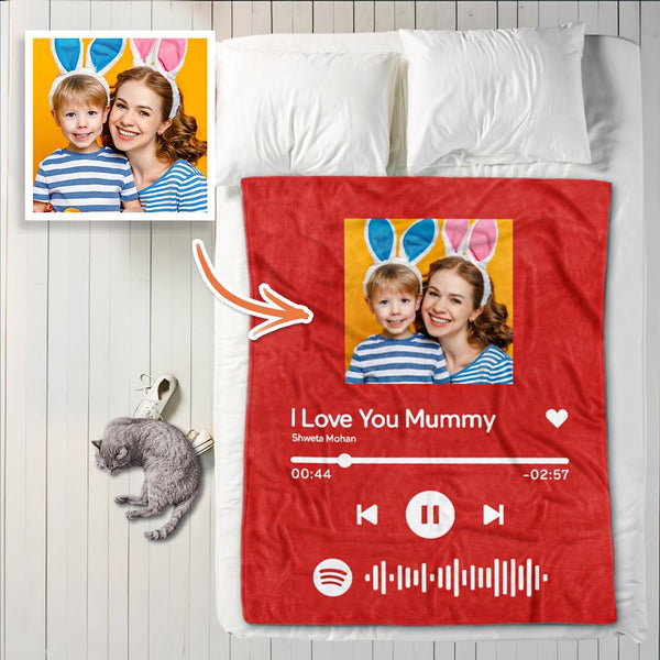 Custom Spotify Code Blanket Personalized Album Cover Photo Blankets For Mom