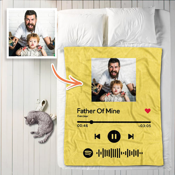 Custom Spotify Code Blanket Personalized Song Player Photo Blankets For Dad
