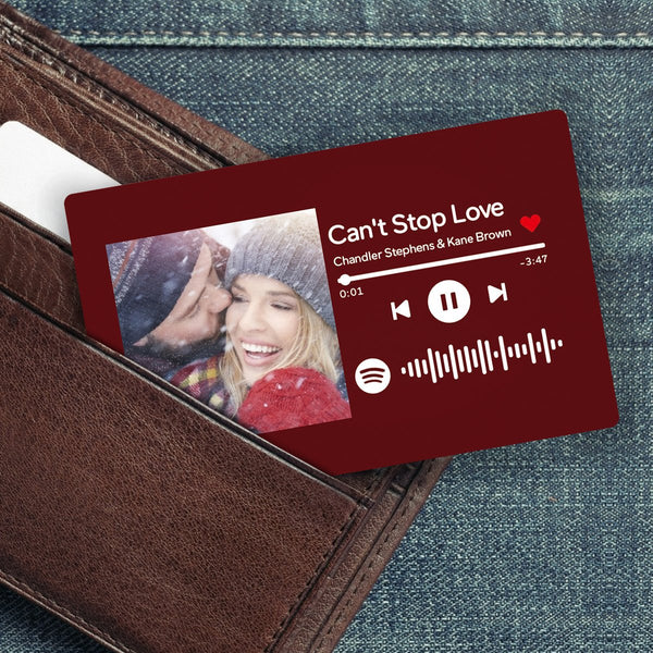 Custom Spotify Music Code Wallet Card Personalized Message Card Crimson