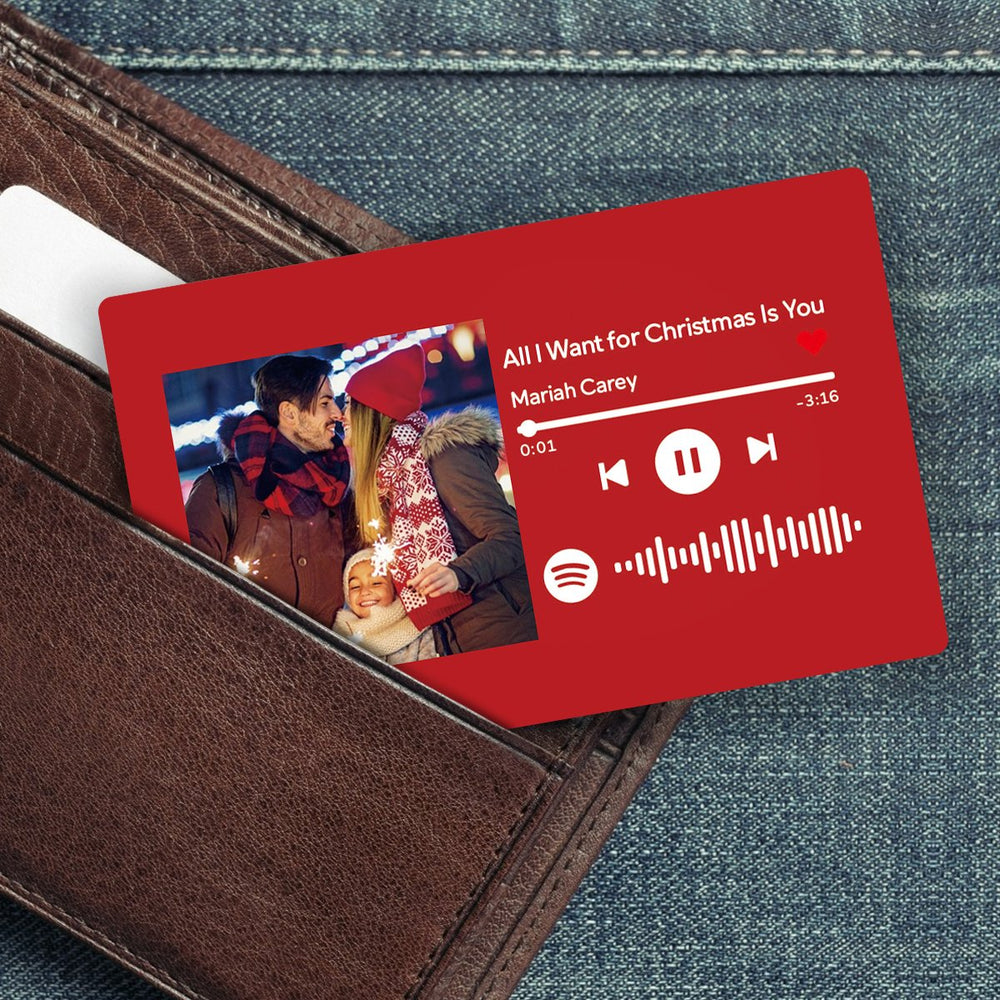 Custom Spotify Music Code Wallet Card Personalized Message Card Red