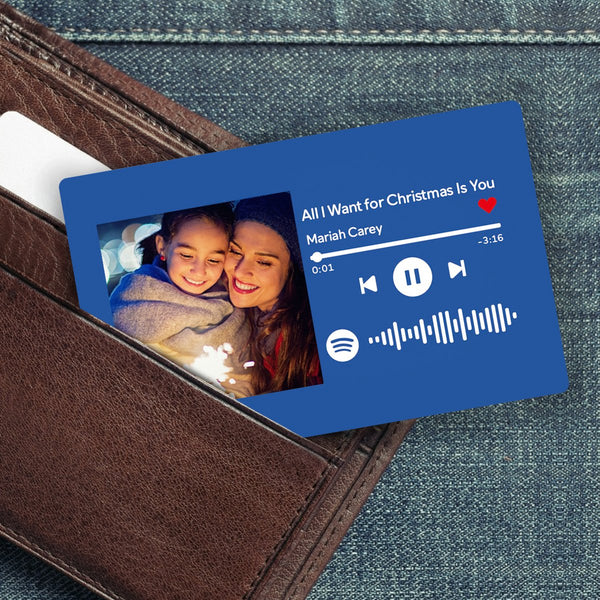 Custom Spotify Music Code Wallet Card Personalized Message Card Blue