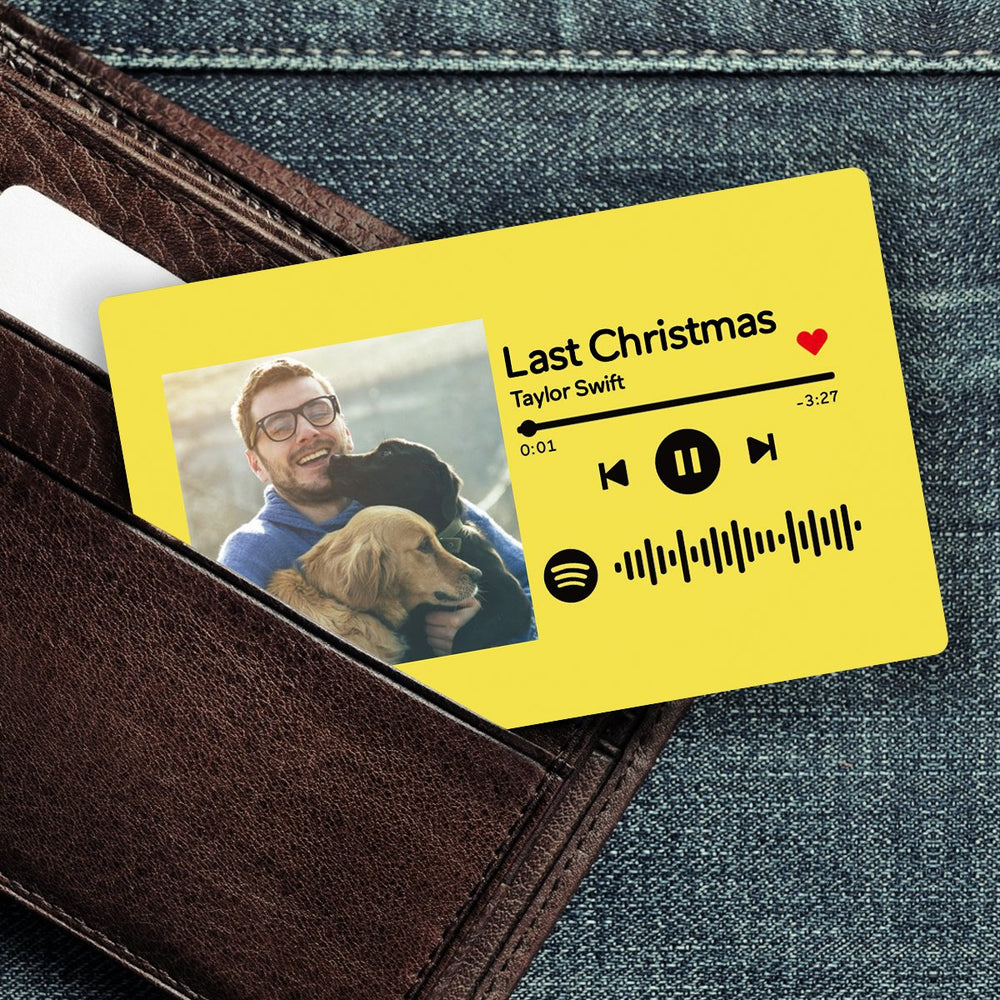 Custom Spotify Music Code Wallet Card Personalized Message Card Yellow