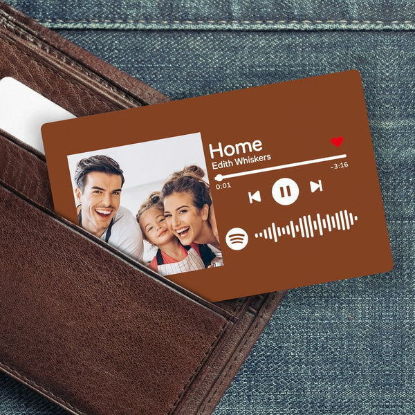 Custom Spotify Music Code Wallet Card Personalized Message Card Brown