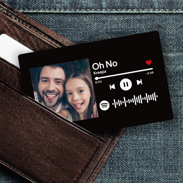 Custom Spotify Music Code Wallet Card Personalized Message Card Black
